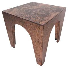 Mid-Century Modern Distressed Copper End Table
