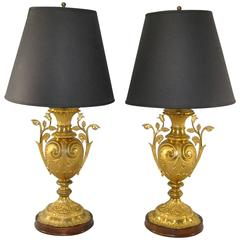 Pair of Turn-of-the-Century French Brass Vases Fitted for Use as Table Lamps