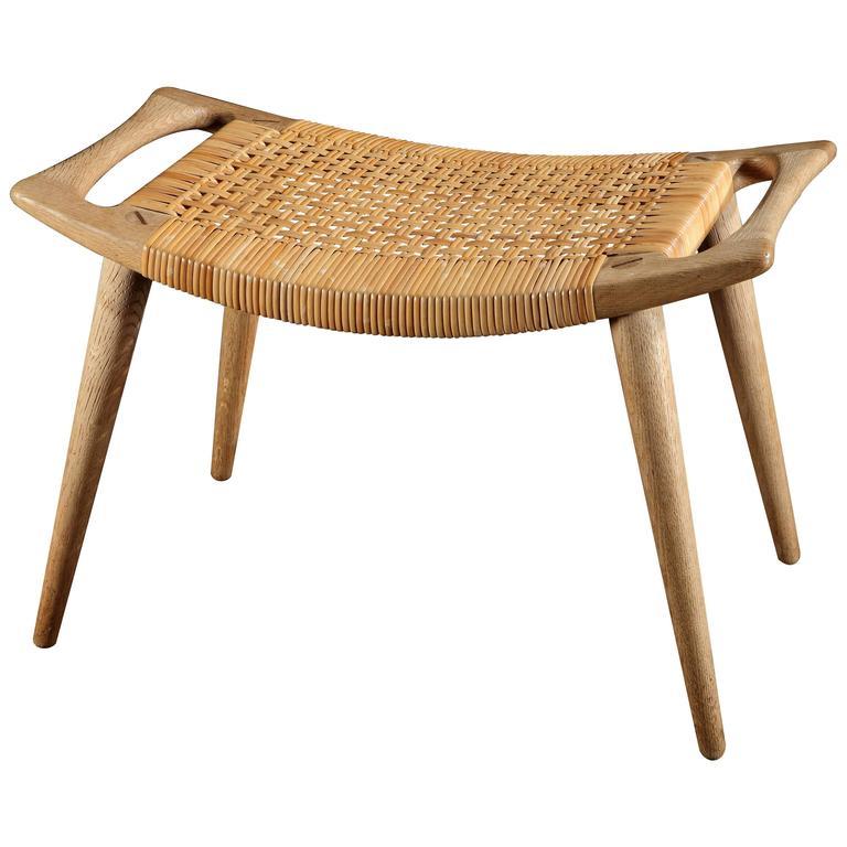 oak and cane stool by hans wegner model no jh 539 at 1stdibs. Black Bedroom Furniture Sets. Home Design Ideas