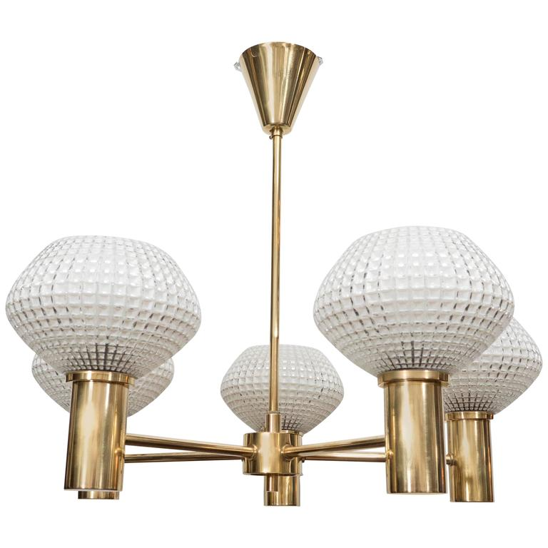 Mid-Century Modernist 5-Arm Polished Brass Chandelier with ...
