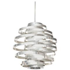 1970s French Spiral Chrome Light Fixture