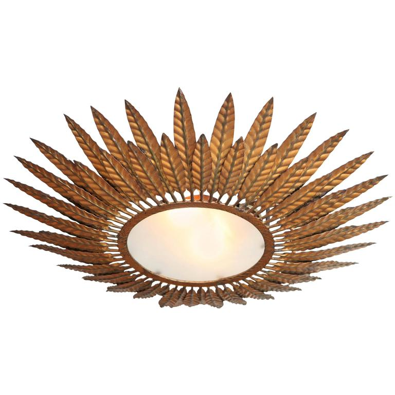 French Bronze Starburst Flush Mount Light Fixture