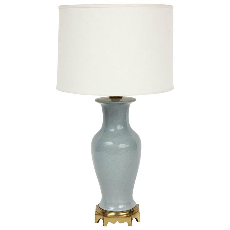 1940s Blue Porcelain Table Lamp By Paul Hanson For Sale At