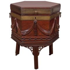 A Beautifully Carved George III Brass Bound Mahogany Octagonal Wine Cooler
