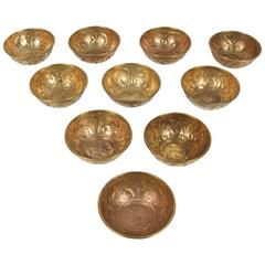 Set of 10 Antique Middle Eastern Brass Magic Bowls