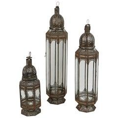 Set of Three Large Moroccan Moorish Clear Glass Lanterns
