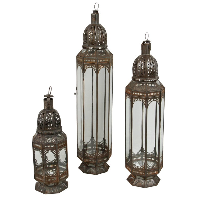 Set of Three Large Moroccan Moorish Clear Glass Lanterns For Sale