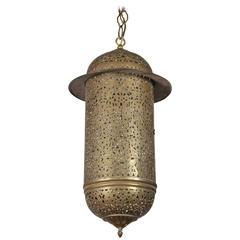 Vintage Moroccan Brass Filigree Pendant Light Fixture