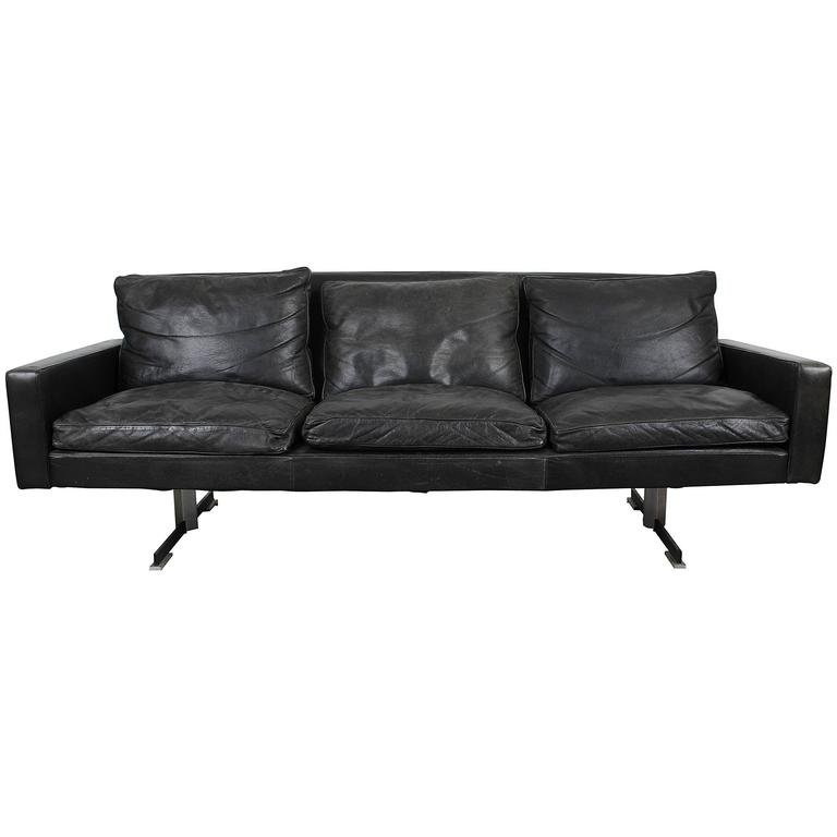 Mid Century Modern Black Leather Sofa With Chrome Legs For