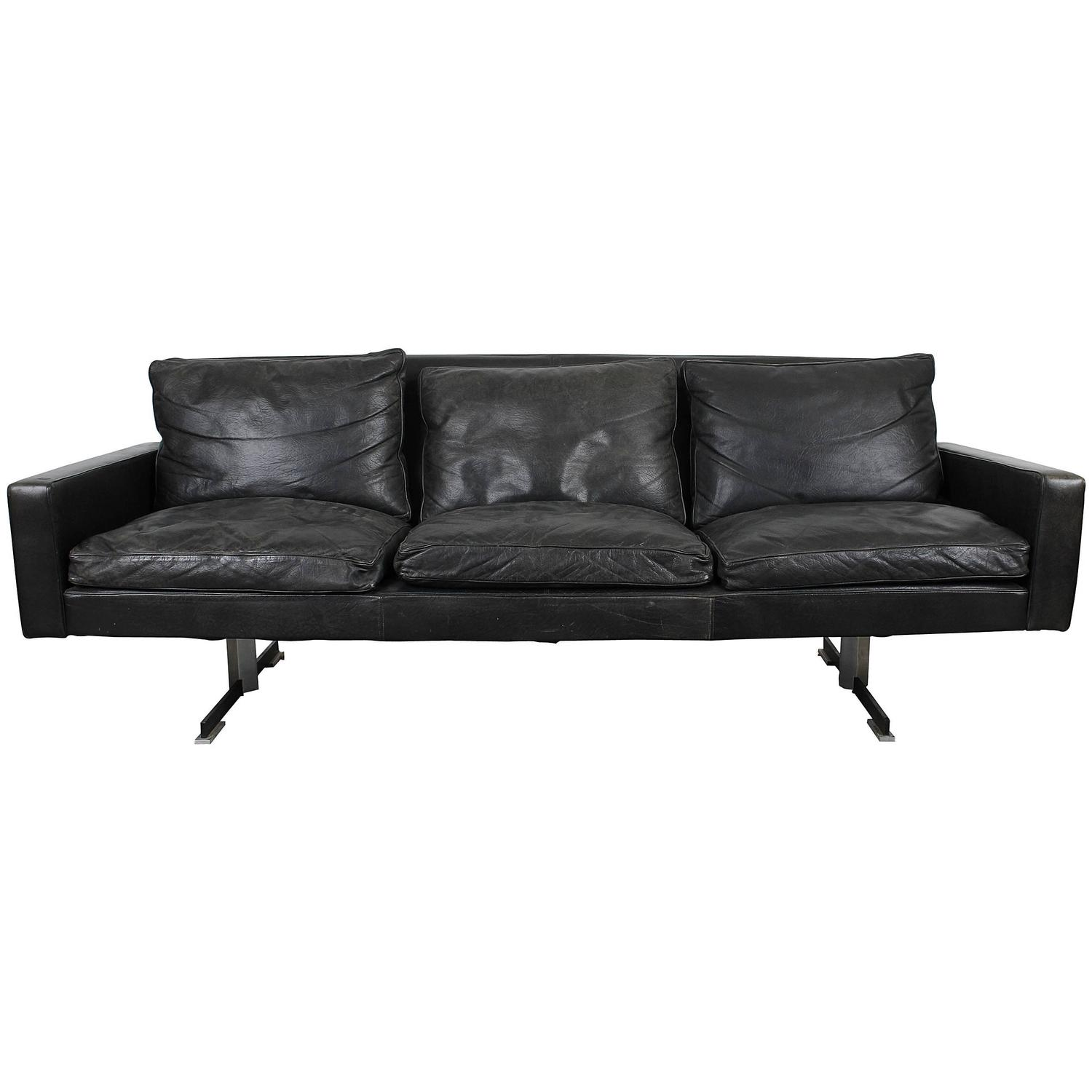 Mid-Century Modern Black Leather Sofa with Chrome Legs at ...