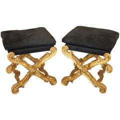 Contemporary Pair of Louis XV Style Giltwood X-Shaped Upholstered Folding Stools