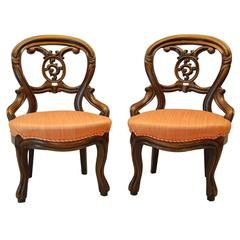 Pair Victorian Walnut Carved Parlor Chairs, circa 1870
