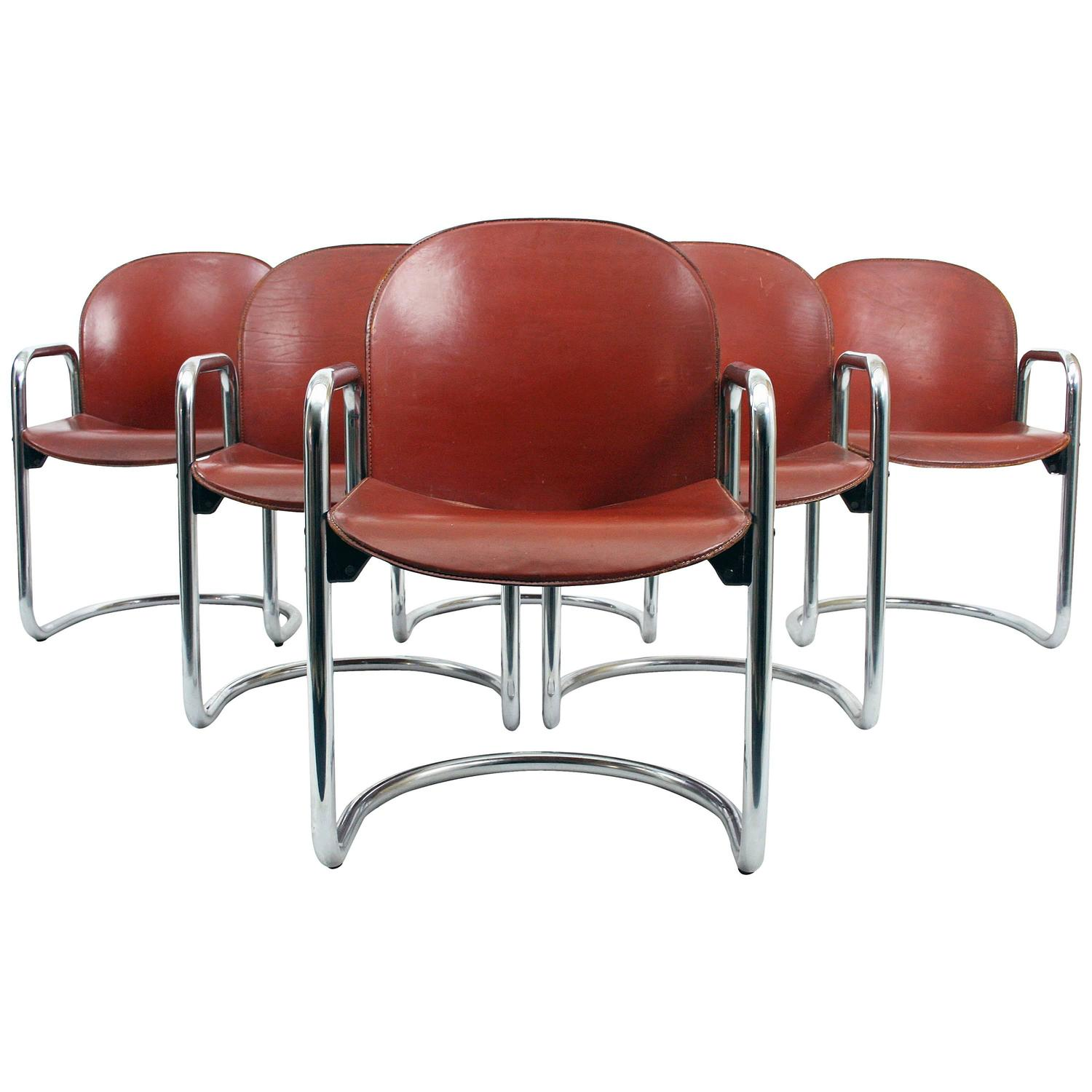 Six afra and tobia scarpa 1974 dialogo leather dining for B b italia dining room chairs