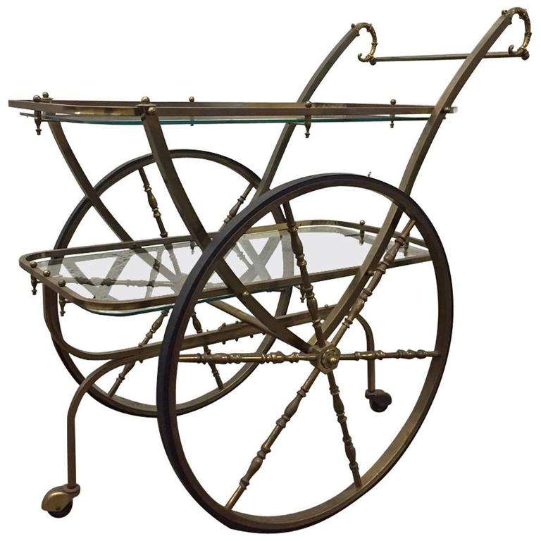 French Two-Tier Brass Bar Cart