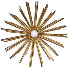 Oversize Gold Leaf Sunburst Mirror