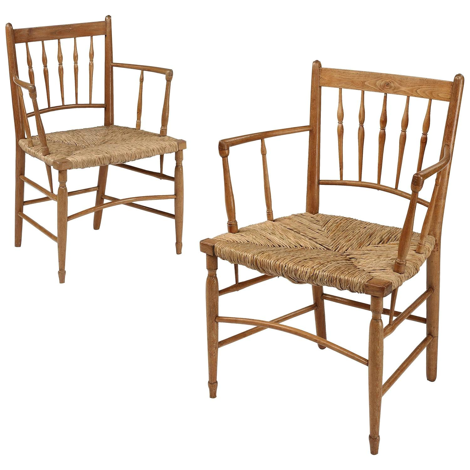 Pair of Oak Spindle Back Sus Chairs after a Design by William