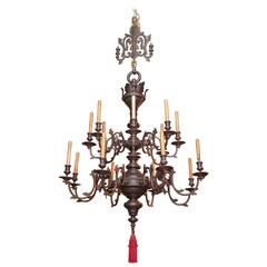 Antique Dutch Bronze Patinated Renaissance Chandelier, circa 1929