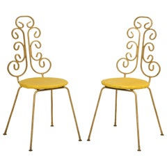 French Gilded Pair of Steel Chairs