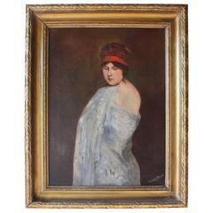 Impressionist Oil Painting of a Women Wrapped in a Shawl