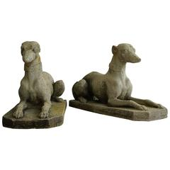 Pair of Regency-Style Garden Statues of Whippets, England, 1890-1920s