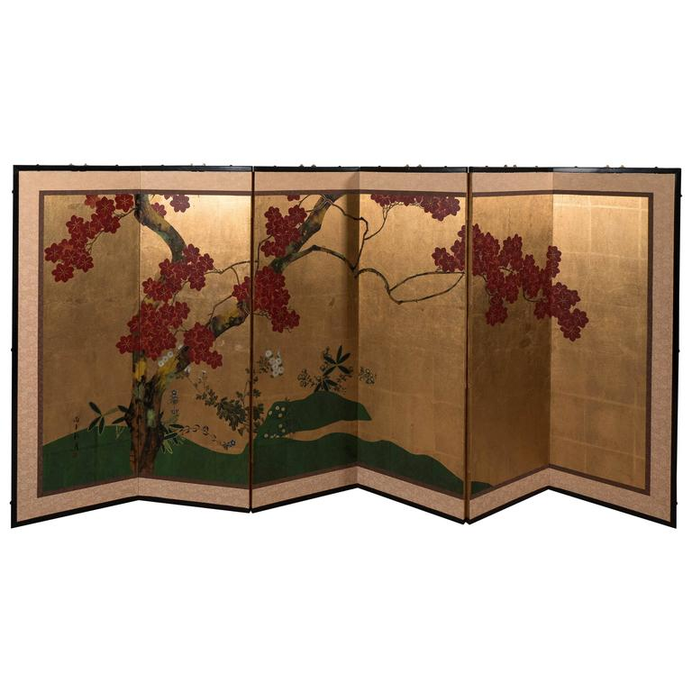 A Japanese Six-Panel Painted Screen with Blooming Cherry Blossoms on Gold Leaf