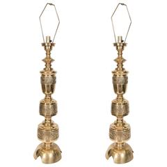 Pair of Chinoiserie Brass Table Lamps in the Style of James Mont