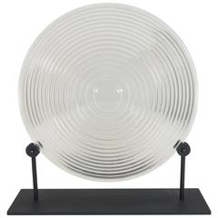 Round Optical Fresnel Lens in Borosilicate Glass on Display Stand