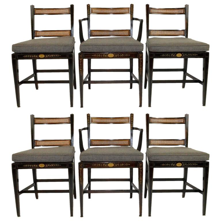 Set of Six Regency Style Dining Chairs For Sale