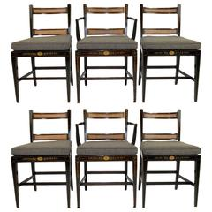Set of Six Regency Style Dining Chairs