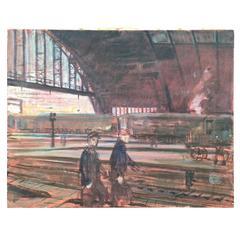 "Clifford H. Schule ""Reading Terminal Philadelphia"" Oil Tempera on Canvas"
