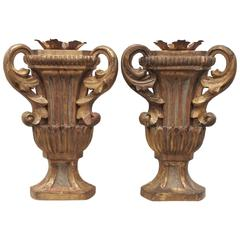 Pair of Italian Gilded Trophy Urns