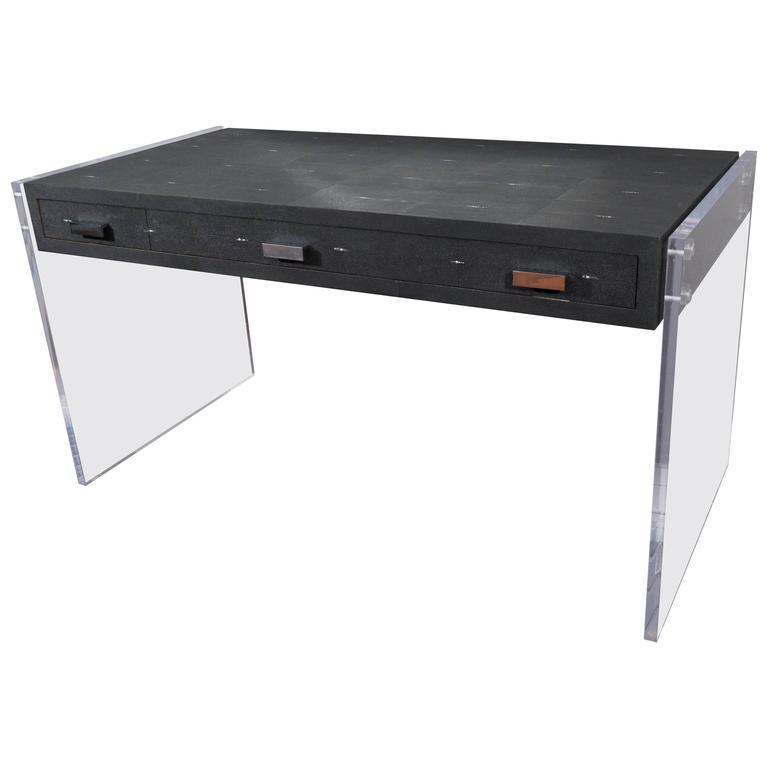Sleek Black Shagreen Desk with Lucite Side Panels For Sale at 1stdibs