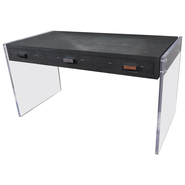 Sleek Black Shagreen Desk with Lucite Side Panels