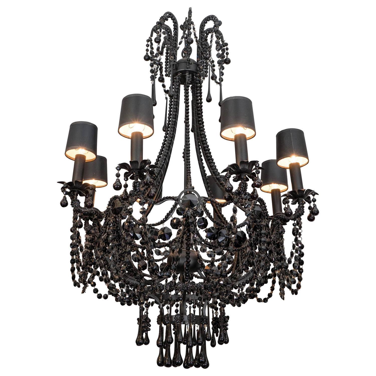 French Black Crystal Chandelier For Sale At 1stdibs