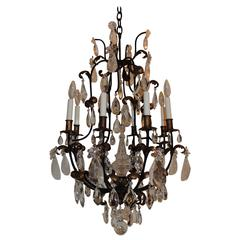 Wonderful French Baguès Rock Crystal Gilt Iron Eight-Light Chandelier Fixture