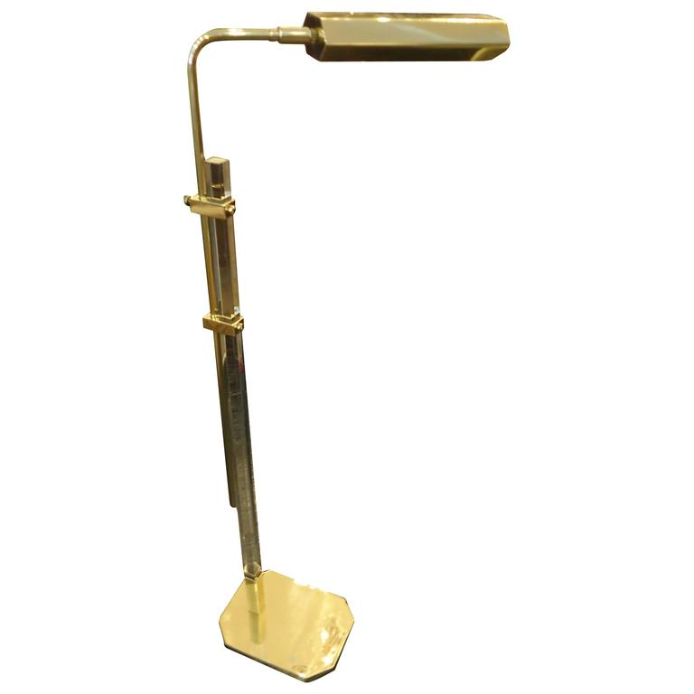 unusual mid century brass and lucite adjustable floor lamp. Black Bedroom Furniture Sets. Home Design Ideas