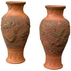 Pair of Large Japanese Bizen Pottery Vases
