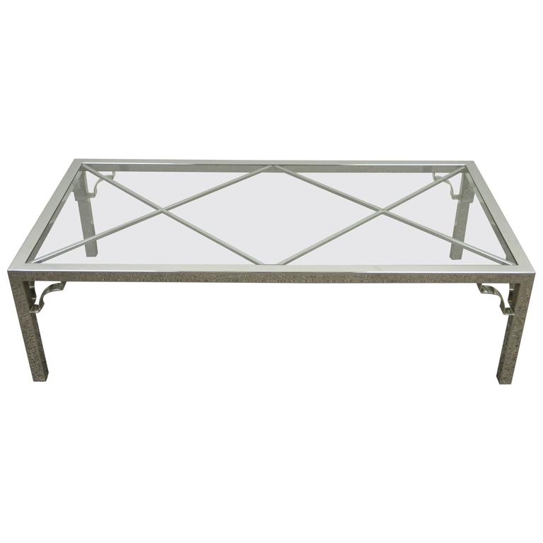 Mid-Century Modern Polished Chrome X-From Glass Top Coffee Table