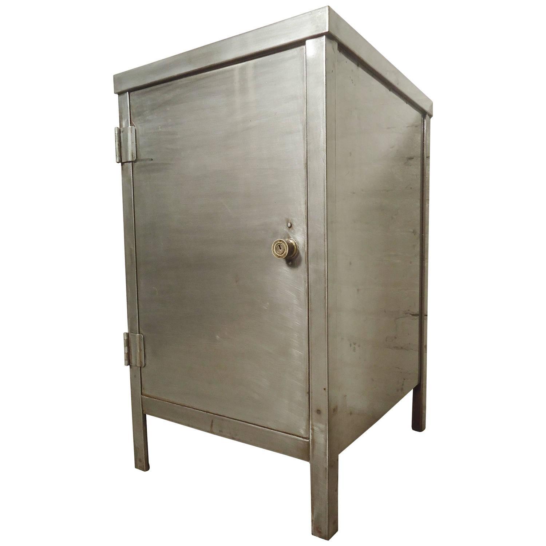 industrial metal cabinet refinished at 1stdibs. Black Bedroom Furniture Sets. Home Design Ideas