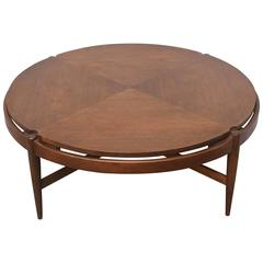 Round Walnut Bassett Coffee Table, 1960s USA