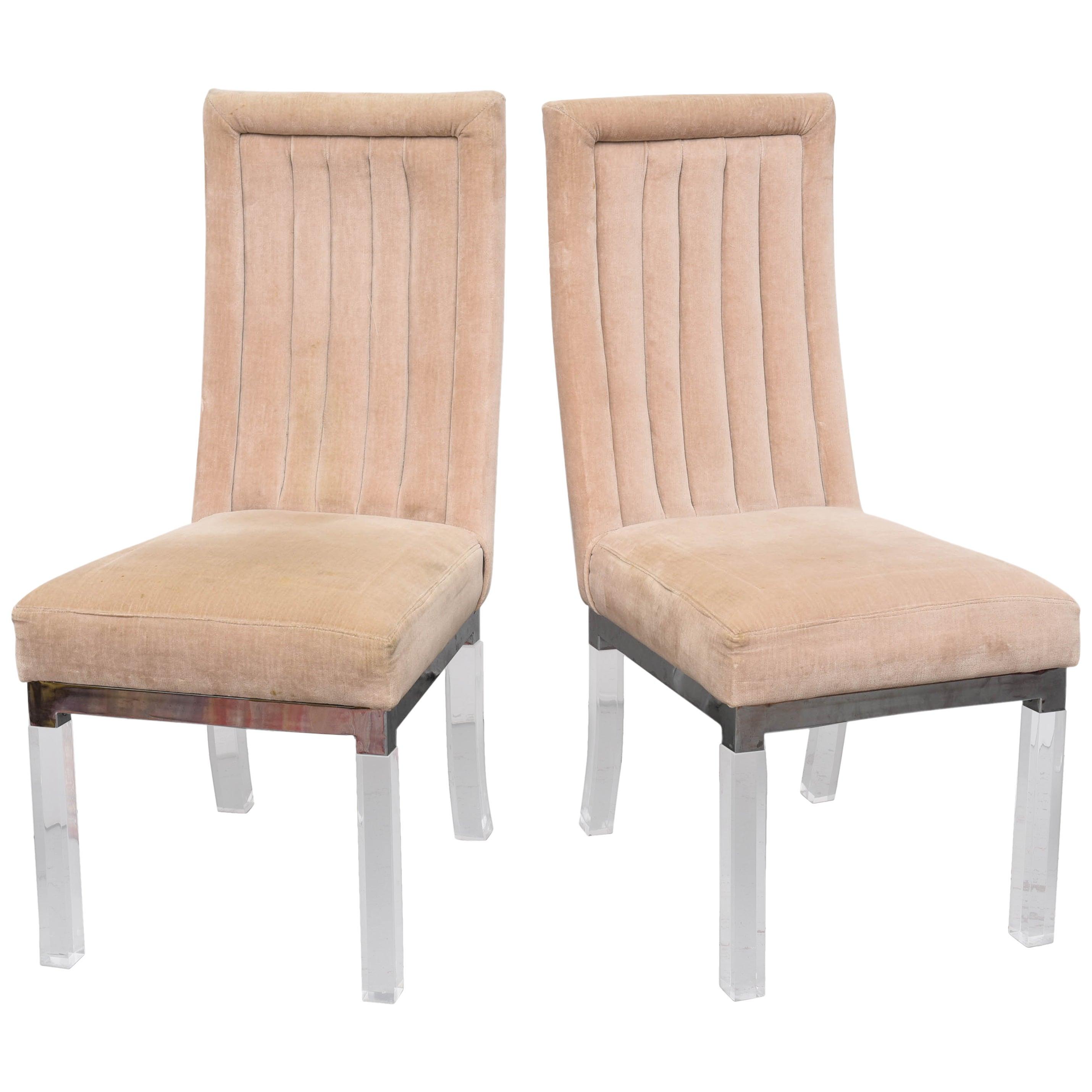Set of EIGHT Charles Hollis Jones Lucite Legged Dining Chairs, USA, 1970s