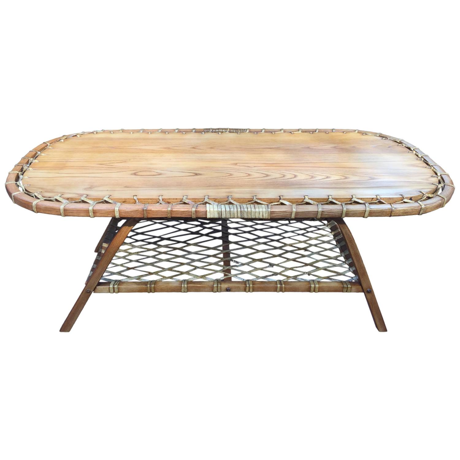 Adirondack Oak And Rawhide Coffee Table At 1stdibs