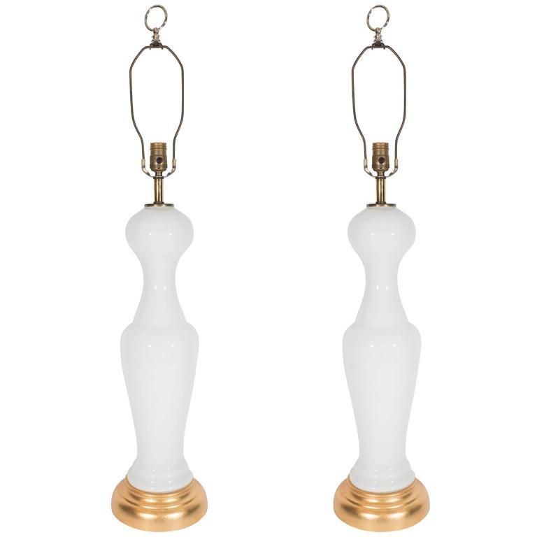 Pair of Elegant Mid-Century White Opaline Glass Lamps on Gilt Bases