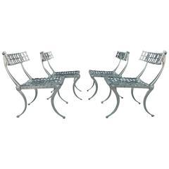 Set of 4 Mirror Polished Klismos Chairs
