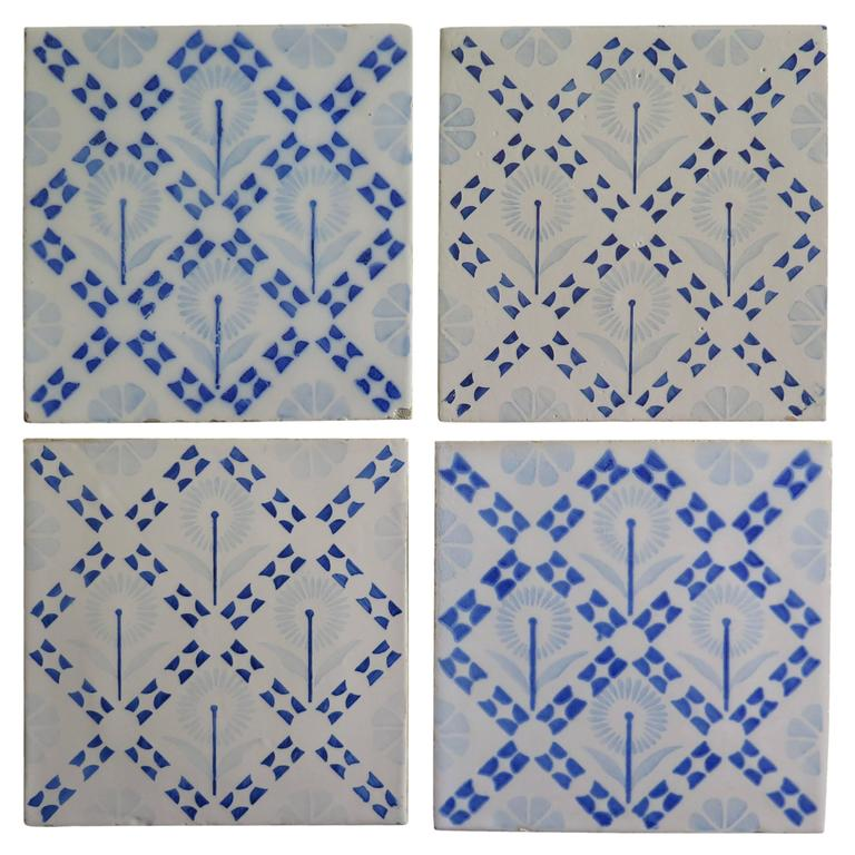 Four Art Deco Period Ceramic Wall Tiles Blue and White, Dutch, circa 1930 For Sale