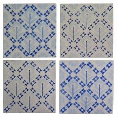 Four Art Deco Period Ceramic Wall Tiles Blue and White, Dutch, circa 1930