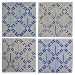 Four Art Deco Period Ceramic Wall Tiles Blue and White, Dutch, circa 1930