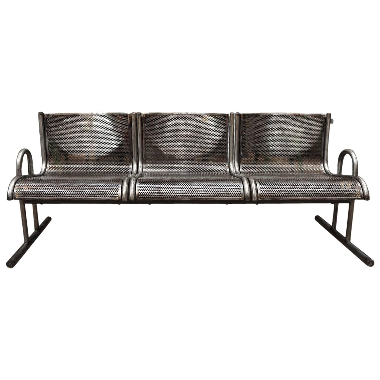 French Industrial Metal Bench Circa 1960 At 1stdibs