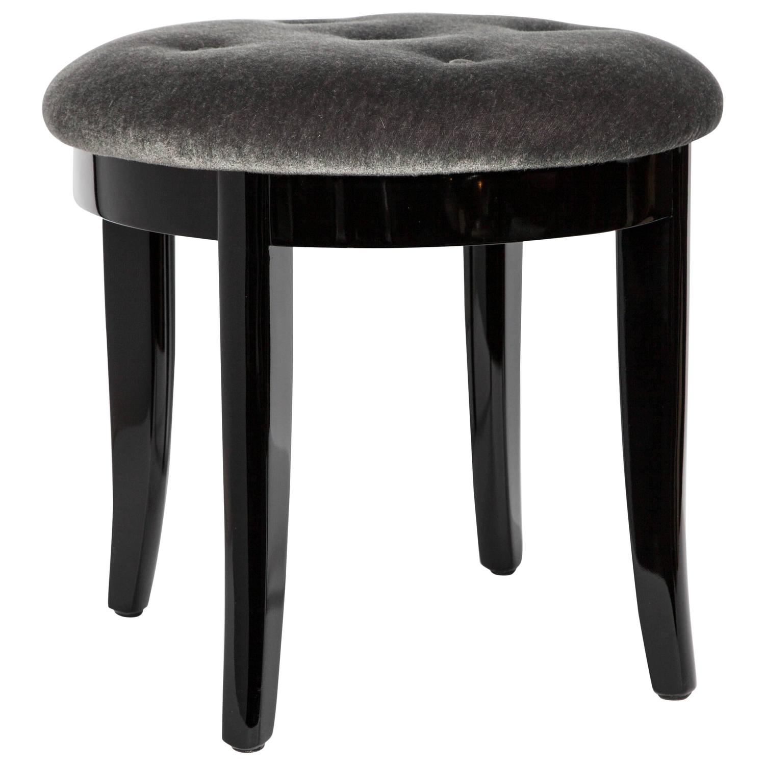 Elegant Art Deco Vanity Stool In Black Lacquer And Grey Mohair At 1stdibs