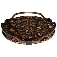 Exquisite Serving Tray with Starburst Mother of Pearl Inlays